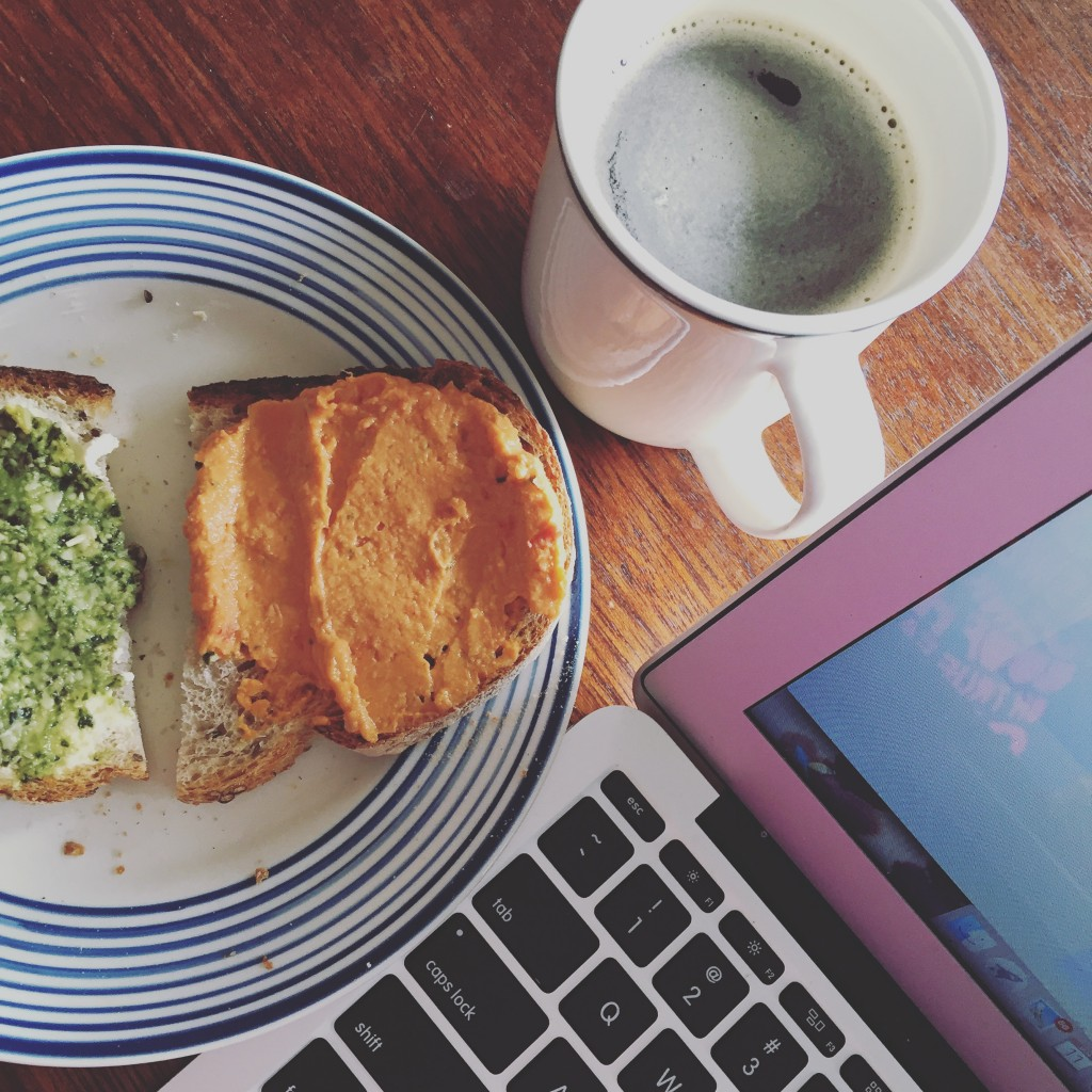 Perfect time out: toast with pesto, hummus and coffee.